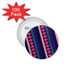 Purple And Pink Retro Geometric Pattern 1 75  Buttons (100 Pack)  by DanaeStudio