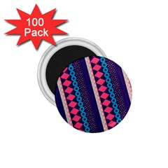 Purple And Pink Retro Geometric Pattern 1 75  Magnets (100 Pack)  by DanaeStudio