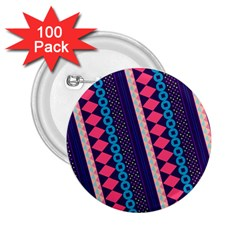 Purple And Pink Retro Geometric Pattern 2 25  Buttons (100 Pack)  by DanaeStudio