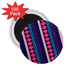 Purple And Pink Retro Geometric Pattern 2 25  Magnets (100 Pack)  by DanaeStudio