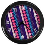 Purple And Pink Retro Geometric Pattern Wall Clocks (Black)