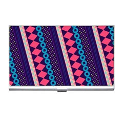 Purple And Pink Retro Geometric Pattern Business Card Holders by DanaeStudio