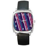 Purple And Pink Retro Geometric Pattern Square Metal Watch
