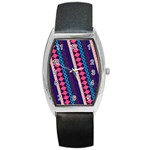 Purple And Pink Retro Geometric Pattern Barrel Style Metal Watch