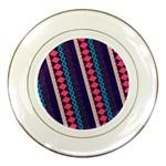 Purple And Pink Retro Geometric Pattern Porcelain Plates