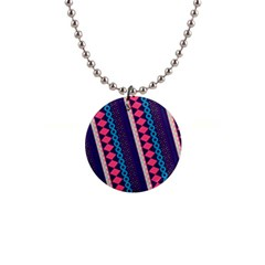 Purple And Pink Retro Geometric Pattern Button Necklaces by DanaeStudio