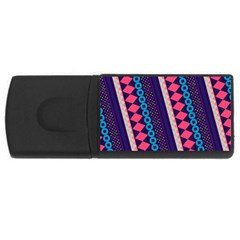 Purple And Pink Retro Geometric Pattern Usb Flash Drive Rectangular (4 Gb)  by DanaeStudio