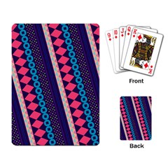 Purple And Pink Retro Geometric Pattern Playing Card by DanaeStudio
