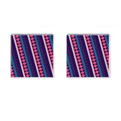 Purple And Pink Retro Geometric Pattern Cufflinks (square) by DanaeStudio