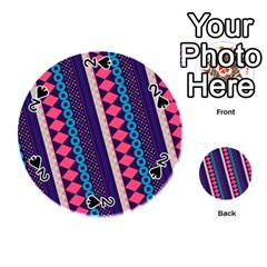 Purple And Pink Retro Geometric Pattern Playing Cards 54 (round)  by DanaeStudio
