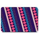 Purple And Pink Retro Geometric Pattern Large Doormat