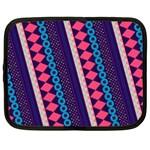 Purple And Pink Retro Geometric Pattern Netbook Case (Large)