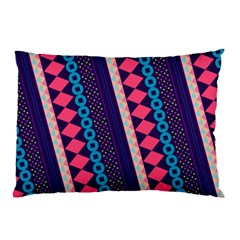 Purple And Pink Retro Geometric Pattern Pillow Case by DanaeStudio
