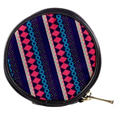 Purple And Pink Retro Geometric Pattern Mini Makeup Bags by DanaeStudio