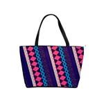 Purple And Pink Retro Geometric Pattern Shoulder Handbags