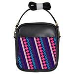 Purple And Pink Retro Geometric Pattern Girls Sling Bags