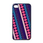 Purple And Pink Retro Geometric Pattern Apple iPhone 4 Case (Black)