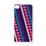 Purple And Pink Retro Geometric Pattern Apple iPhone 4 Case (White)