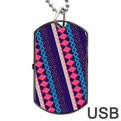 Purple And Pink Retro Geometric Pattern Dog Tag Usb Flash (one Side) by DanaeStudio