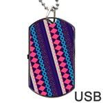 Purple And Pink Retro Geometric Pattern Dog Tag USB Flash (One Side)