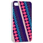 Purple And Pink Retro Geometric Pattern Apple iPhone 4/4s Seamless Case (White)