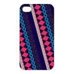 Purple And Pink Retro Geometric Pattern Apple iPhone 4/4S Premium Hardshell Case