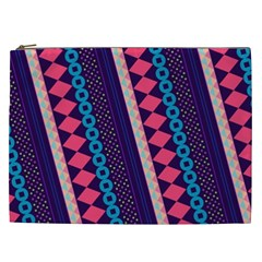 Purple And Pink Retro Geometric Pattern Cosmetic Bag (xxl)  by DanaeStudio