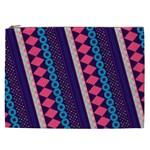 Purple And Pink Retro Geometric Pattern Cosmetic Bag (XXL)