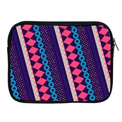 Purple And Pink Retro Geometric Pattern Apple Ipad 2/3/4 Zipper Cases by DanaeStudio