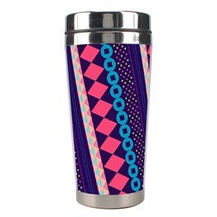 Purple And Pink Retro Geometric Pattern Stainless Steel Travel Tumblers by DanaeStudio