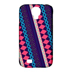 Purple And Pink Retro Geometric Pattern Samsung Galaxy S4 Classic Hardshell Case (pc+silicone) by DanaeStudio