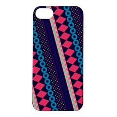 Purple And Pink Retro Geometric Pattern Apple Iphone 5s/ Se Hardshell Case by DanaeStudio