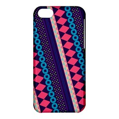 Purple And Pink Retro Geometric Pattern Apple Iphone 5c Hardshell Case by DanaeStudio