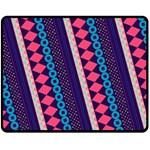 Purple And Pink Retro Geometric Pattern Double Sided Fleece Blanket (Medium)