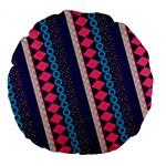 Purple And Pink Retro Geometric Pattern Large 18  Premium Flano Round Cushions