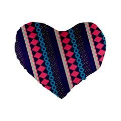Purple And Pink Retro Geometric Pattern Standard 16  Premium Flano Heart Shape Cushions by DanaeStudio