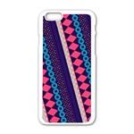 Purple And Pink Retro Geometric Pattern Apple iPhone 6/6S White Enamel Case