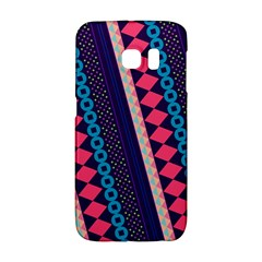 Purple And Pink Retro Geometric Pattern Galaxy S6 Edge by DanaeStudio