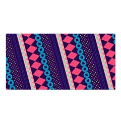 Purple And Pink Retro Geometric Pattern Satin Shawl by DanaeStudio