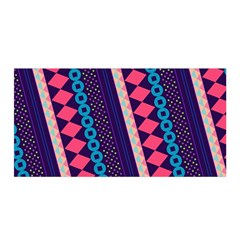 Purple And Pink Retro Geometric Pattern Satin Wrap by DanaeStudio