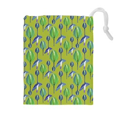 Tropical Floral Pattern Drawstring Pouches (extra Large) by dflcprints