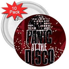 Panic At The Disco Poster 3  Buttons (10 Pack)  by Onesevenart
