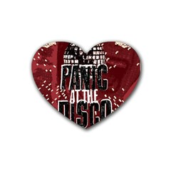 Panic At The Disco Poster Heart Coaster (4 Pack)  by Onesevenart