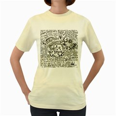Panic! At The Disco Lyric Quotes Women s Yellow T Shirt by Onesevenart
