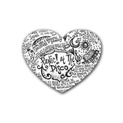 Panic! At The Disco Lyric Quotes Rubber Coaster (heart)  by Onesevenart