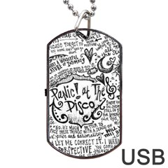 Panic! At The Disco Lyric Quotes Dog Tag Usb Flash (two Sides)  by Onesevenart