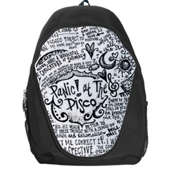 Panic! At The Disco Lyric Quotes Backpack Bag by Onesevenart