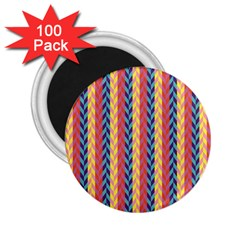 Colorful Chevron Retro Pattern 2 25  Magnets (100 Pack)  by DanaeStudio