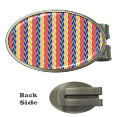 Colorful Chevron Retro Pattern Money Clips (oval)  by DanaeStudio