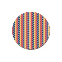 Colorful Chevron Retro Pattern Magnet 3  (round) by DanaeStudio